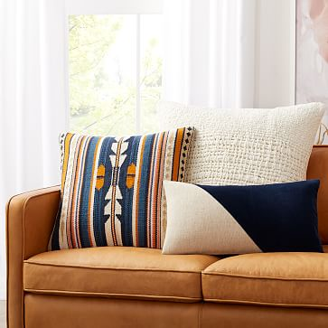 """Woven Baja Pillow Cover, 20""""x20"""", Midnight, Set of 2"""