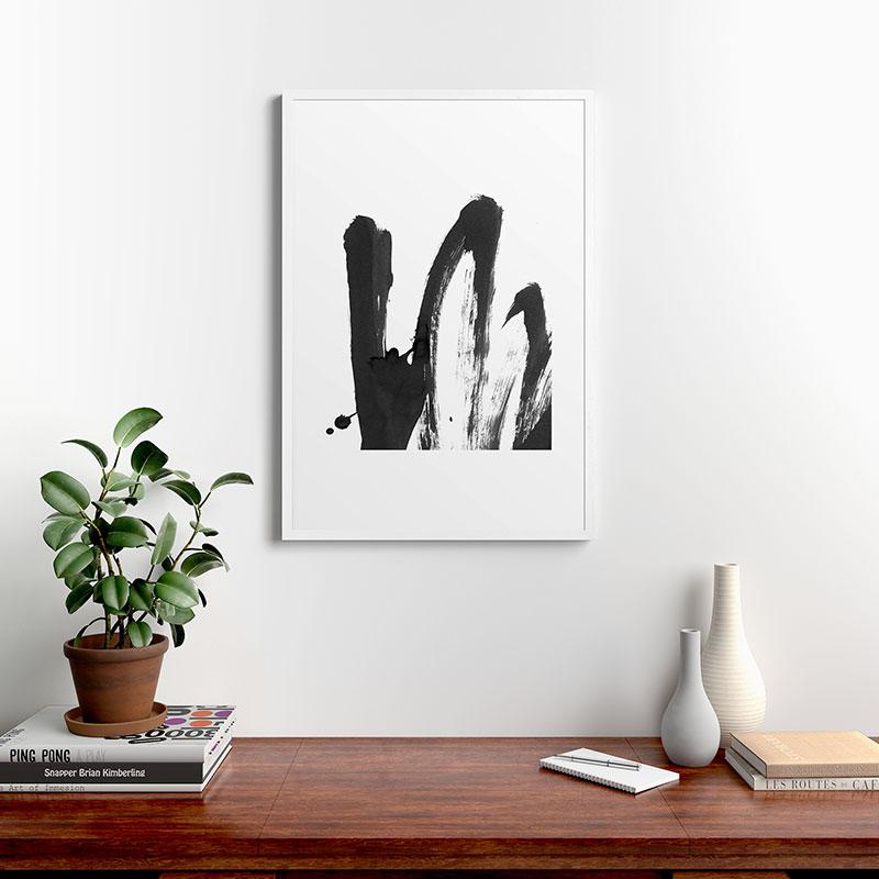 "B And W Strokes 4 by Iris Lehnhardt, Modern Framed Art Print, White, 24"" x 36"""