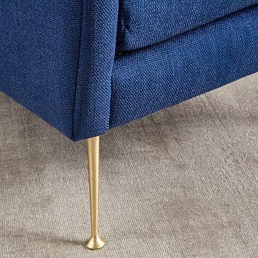Carlo Midcentury Chair, Performance Coastal Linen, Midnight, Brass