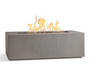 Abbott Concrete Rectangular Propane Fire Table, Flint