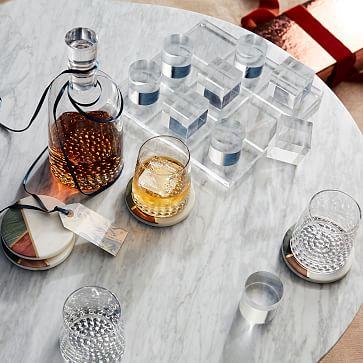 Metallic Base Decanter + Glassware Set