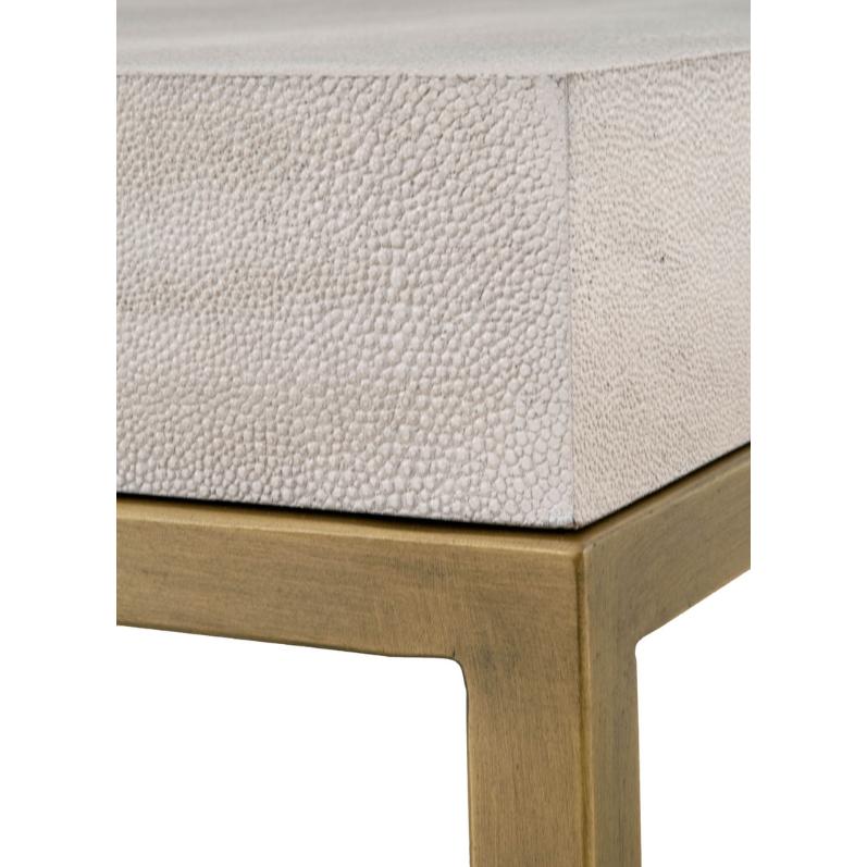 Izabella Modern Classic White Faux Shagreen Resin Gold Metal Coffee Table