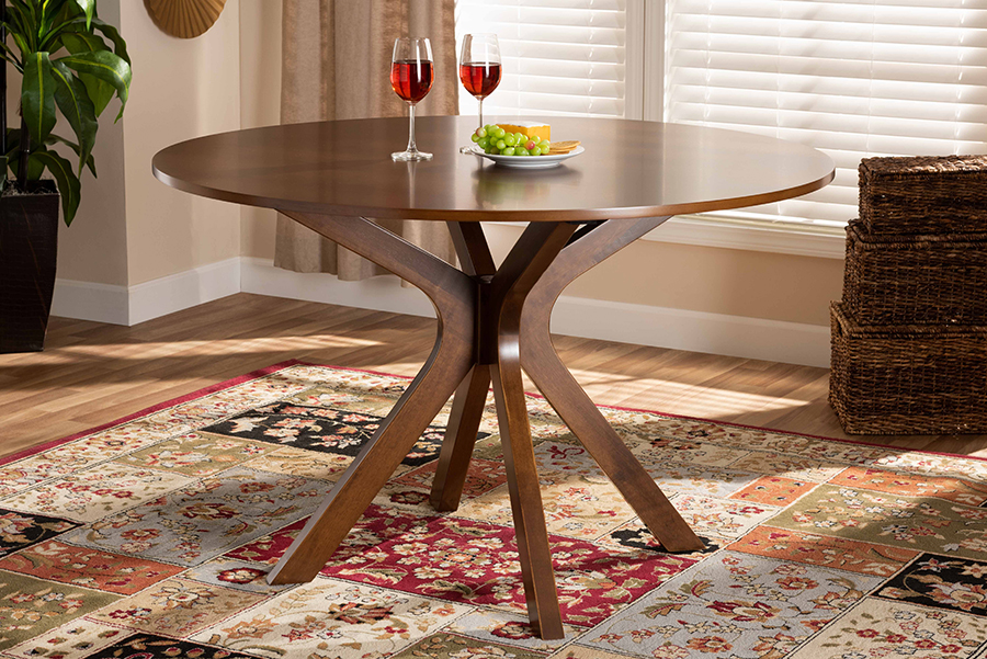 Baxton Studio Kenji Modern and Contemporary Walnut Brown Finished 48-Inch-Wide Round Wood Dining Table