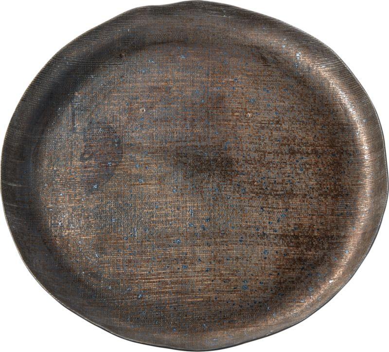 Damascene Bronze Metallic Serving Tray