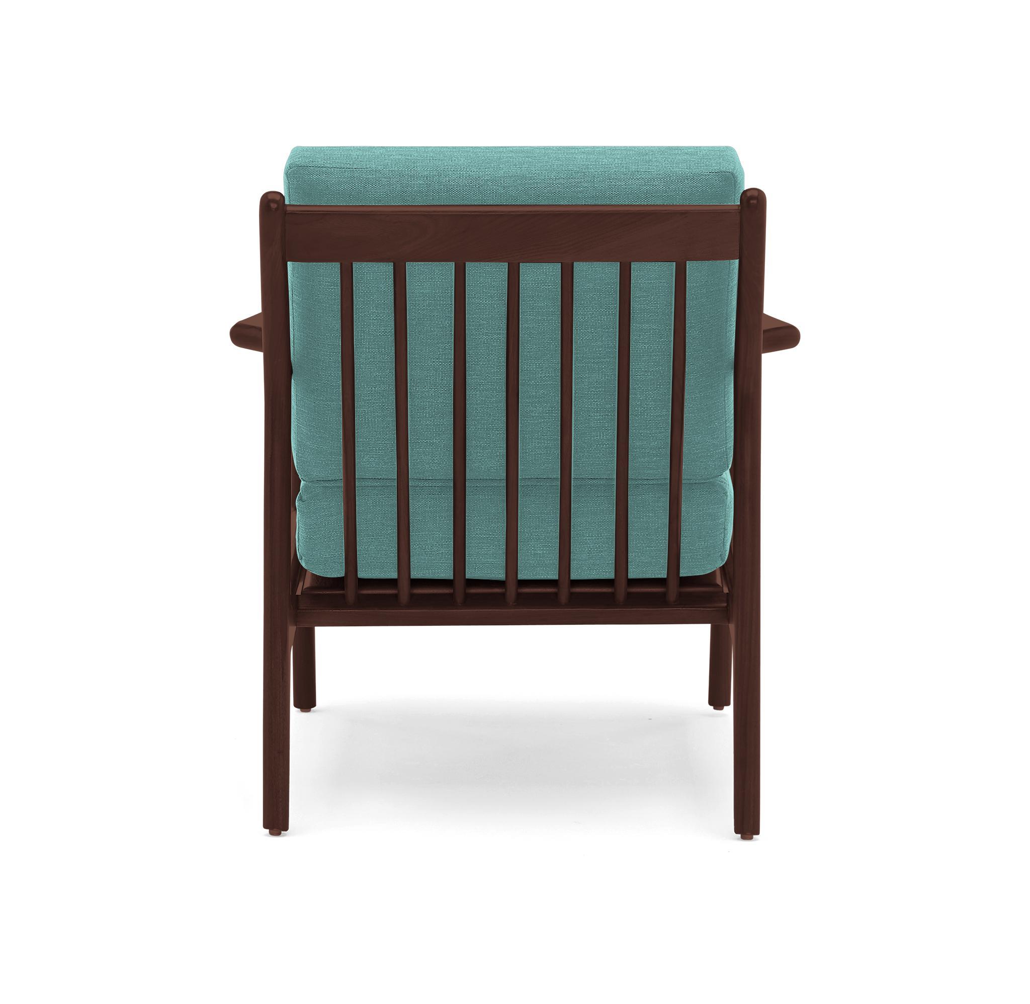 Green Collins Mid Century Modern Chair - Essence Aqua - Walnut