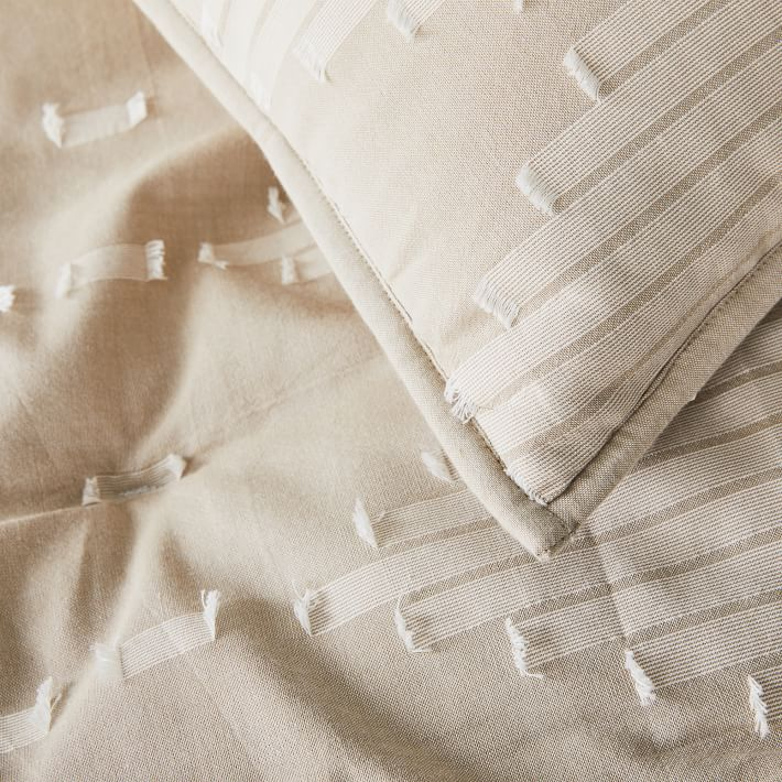 Clipped Diamonds Chambray Comforter, Full/Queen Set, Natural